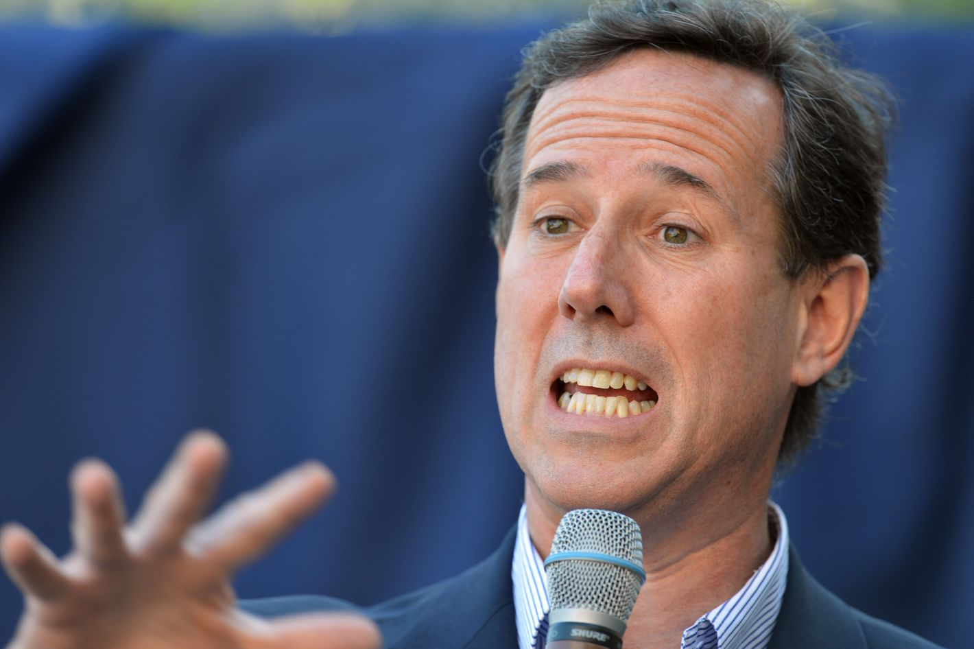 Republican presidential hopeful Rick Santorum speaks to supporters in front of the Blair County Courthouse during a campaign rally on April 4, 2012, in Hollidaysburg, Pennsylvania.