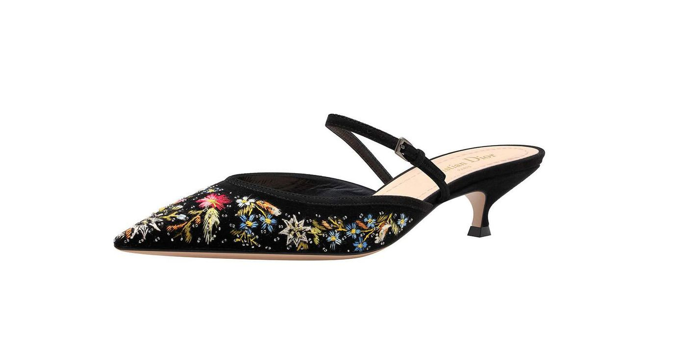 Dior Floral-Embroidered Pumps