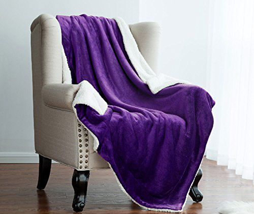 Sherpa Throw Luxury Blanket Purple Reversible Fuzzy Microfiber All-Season Blanket by Bedsure