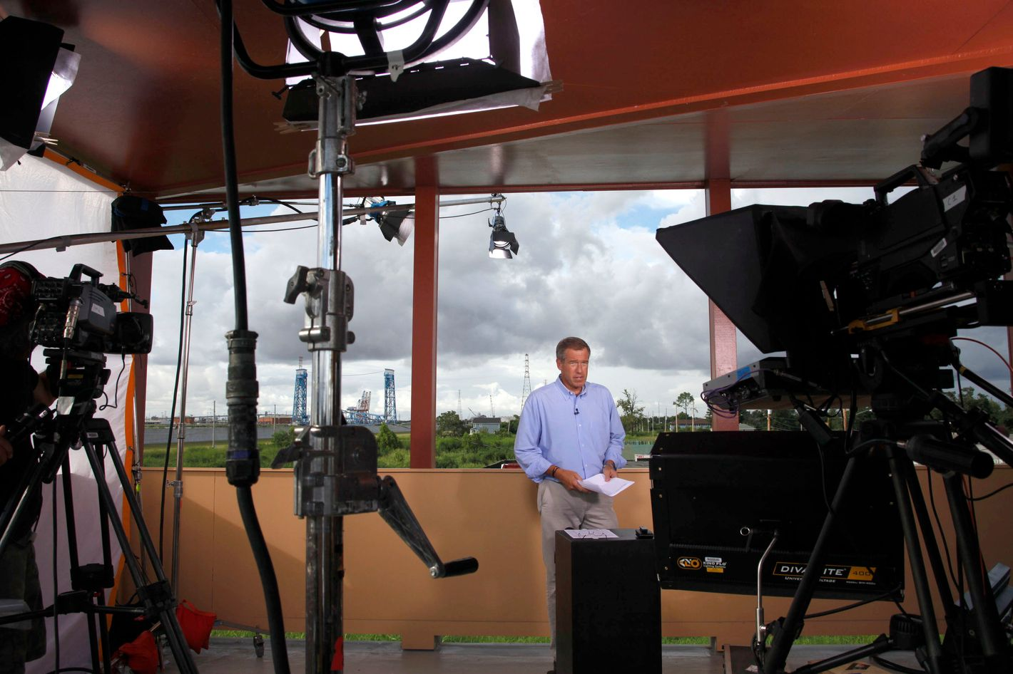 NBC NIGHTLY NEWS WITH BRIAN WILLIAMS -- Pictured: Brian Williams -- NBC News' Brian Williams anchors live from the lower 9th ward in New Orleans, five years after Hurricane Katrina devastated the region -- Photo by: Judi Bottoni/NBC/NBC NewsWire