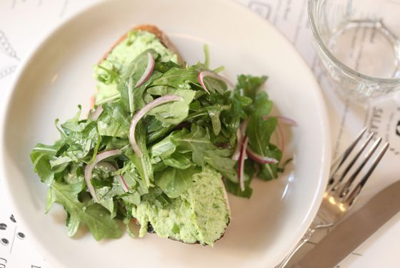 Mashed-pea-and-ricotta toast.