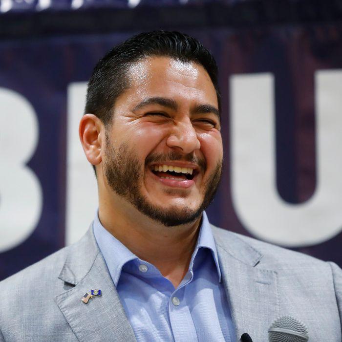 Michigan Democratic gubernatorial candidate Abdul El-Sayed smiles at a campaign stop in Detroit, Saturday, July 28, 2018. (AP Photo/Paul Sancya)