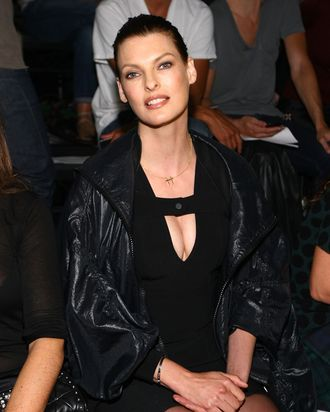 NEW YORK, NY - SEPTEMBER 10: Model Linda Evangelista attends the Alexander Wang Spring 2012 fashion show during Mercedes-Benz Fashion Week at Pier 94 on September 10, 2011 in New York City. (Photo by Neilson Barnard/Getty Images)
