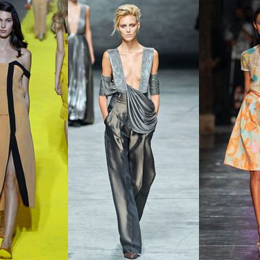 From left: New spring looks from Sonia Rykiel, Haider Ackermann, and Cacharel.