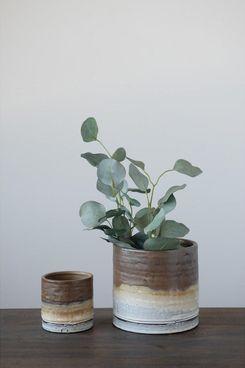 Effortless Composition Medium Brown Ombre Stoneware Planter