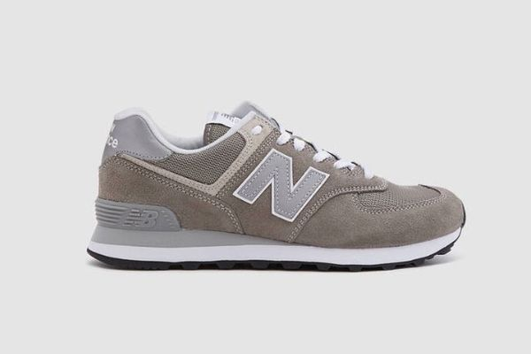 New Balance 574 Suede Sneaker in Grey/White