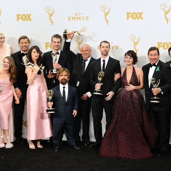 The cast of Game of Thrones at the 67th annual Emmy Awards. Photo: Jason LaVeris/FilmMagic