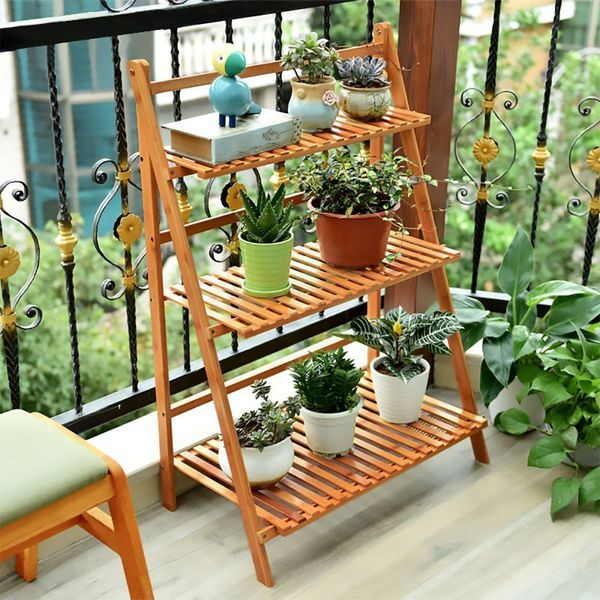 Ufine 3-Tier Bamboo Foldable Plant Stand