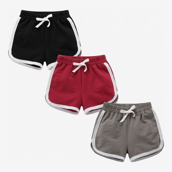 Girls & Boys 3-Pack Running Athletic Cotton Shorts (Red, Gray, Black)