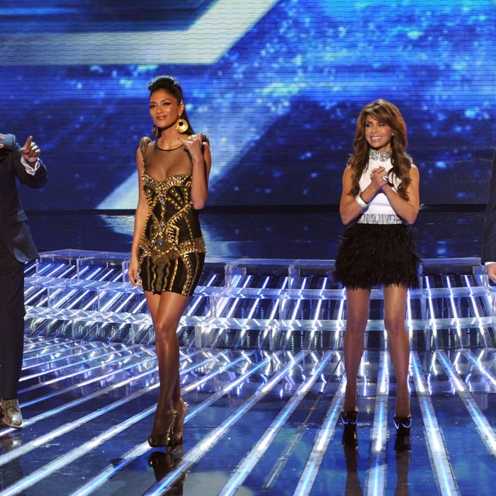 THE X FACTOR: Top 7 Performance: L-R: L.A. Reid, Nicole Scherzinger, Paula Abdul and Simon Cowell on THE X FACTOR airing on Wednesday, Nov. 30 (8:00-9:30 PM ET/PT) on FOX. CR: Ray Mickshaw / FOX.