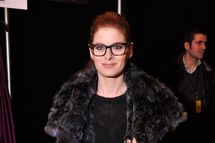 NEW YORK, NY - FEBRUARY 10:  Actress Debra Messing poses backstage at the Dennis Basso fashion show during Mercedes-Benz Fashion Week Fall 2014 at The Theatre at Lincoln Center on February 10, 2014 in New York City.  (Photo by Stephen Lovekin/Getty Images for Mercedes-Benz Fashion Week)