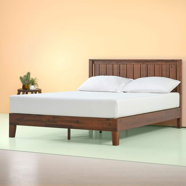 Zinus Vivek 12-Inch Deluxe Wood Platform Bed with Headboard, Queen