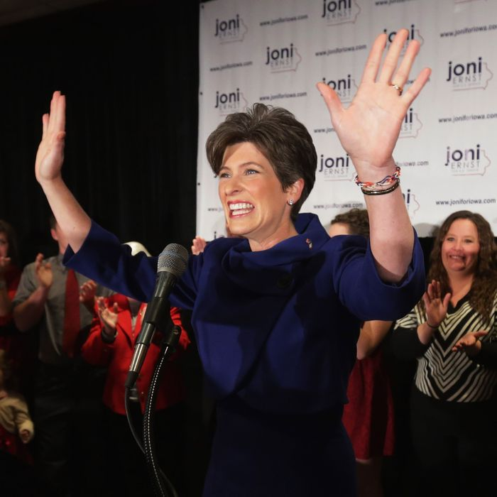 WEST DES MOINES, IA - NOVEMBER 04: Republican U.S. Senate candidate Joni Ernst takes the stage on election night after being projected as the winner at the Marriott Hotel November 4, 2014 in West Des Moines, Iowa. Ernst is projected to have defeated opponent Democrat Rep. Bruce Braley (D-IA) after both were locked in a months-long campaign battle that had them tied in the polls going into election day. (Photo by Chip Somodevilla/Getty Images)