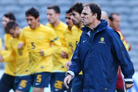 Socceroos coach Holger Osieck looks ahead during an Australian Socceroos training session at Etihad Stadium on June 10, 2013 in Melbourne, Australia.