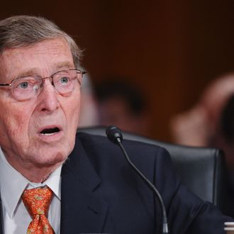 Former Senator Pete Domenici, R-NM, introduces former White House chief of staff Jack Lew during the Senate Finance Committee hearing on Lew's nomination to be Treasury Secretary on February 13, 2013 in the Dirksen Senate Office Building on Capitol Hill in Washington, DC.