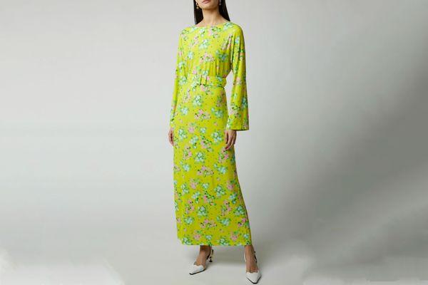 Bernadette Monica Belted Floral-Print Midi Dress