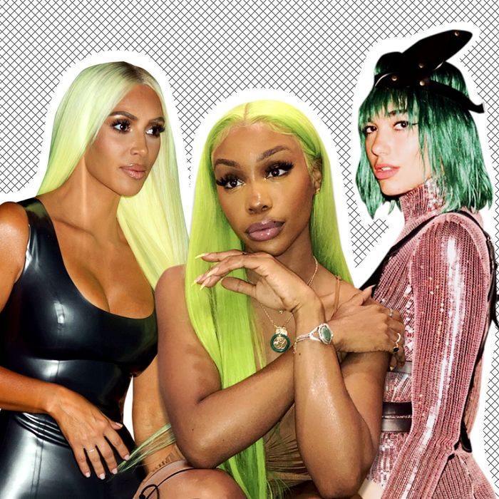 The Green Hair Trend On Kim Kardashian West Sza Dua Lipa