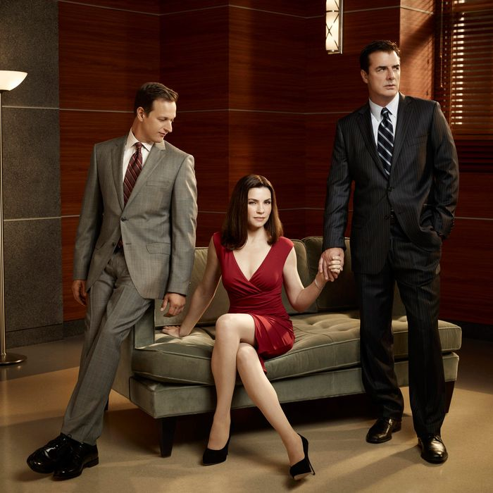 THE GOOD WIFE--Josh Charles as Will Gardener (left), Julianna Margulies as Alicia Florick, and Chris Noth as Peter Florick (right) of the CBS drama THE GOOD WIFE scheduled to air on the CBS Television Network. Photo: Justin Stephens/CBS ?2010 CBS Broadcasting Inc, All Rights Reserved.