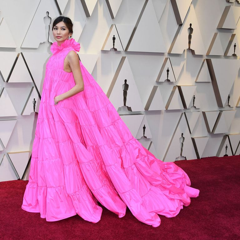 8176a66ff Gemma Chan in a Maison Valentino dress with Bulgari jewelry. Photo  MARK  RALSTON AFP Getty Images
