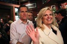 CINCINNATI, OH - MARCH 03:  Republican presidential candidate, former Massachusetts Gov. Mitt Romney and his wife Ann Romney walk through The Montgomery Inn Restaurant at the Roadhouse on March 3, 2012 in Cincinnati, Ohio. Mitt Romney is campaigning in Ohio ahead of Super Tuesday.  (Photo by Justin Sullivan/Getty Images)