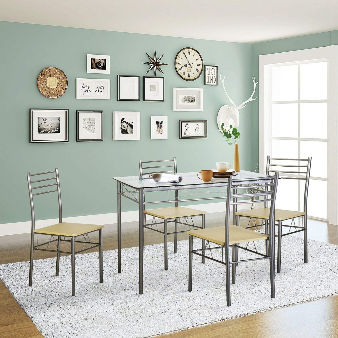VECELO Dining Table With 4 Chairs, Silver