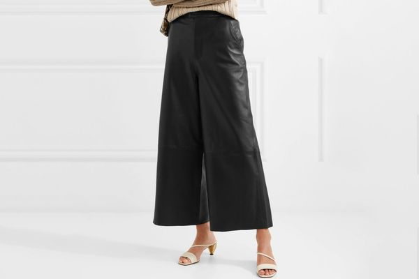 Remain Birger Christensen Manu Cropped Leather Wide Leg Pants