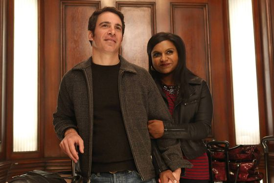 "THE MINDY PROJECT: Mindy (Mindy Kaling, R) and Danny (Chris Messina, L) return from Los Angeles in Part One of the one-hour ""French Me, You Idiot/Indian BBW"" Spring Premiere episode of THE MINDY PROJECT airing at a special time Tuesday, April 1 (9:00-10:00 PM ET/PT) on FOX. ©2014 Fox. ©2014 Fox Broadcasting Co. Cr: Beth Dubber/FOX"