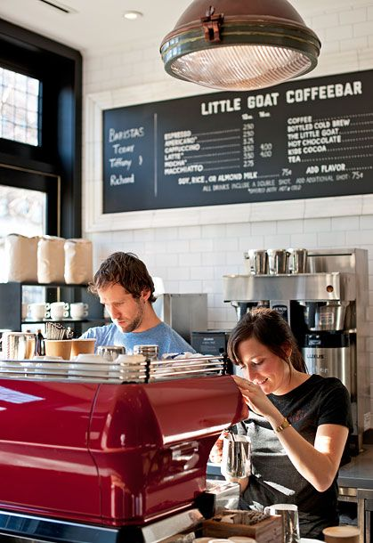 "Chicago  <i>820 W. Randolph St., 312-888-3455; <a href=""http://www.littlegoatchicago.com/"">littlegoatchicago.com</a></i>  Most serious coffee destinations have stripped-down interiors and no-nonsense attitudes. Not Little Goat Bread, which is adjacent to celeb chef Stephanie Izard's Little Goat diner. The look is one reason why Duane Sorenson heads there whenever he's in town: ""I love the aesthetic,"" he says. ""It has a cool diner feel, but the coffee is far from typical diner coffee. The baristas are trained well, especially for that size of a restaurant.""  <b>What to Order:</b> Any drink with optional goat milk added."