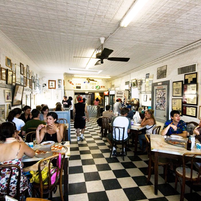 Totonno's, seen here pre-fire and pre-Sandy, is back in business.