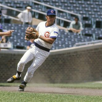 CHICAGO, IL - CIRCA 1970's: Third Baseman Ron Santo #10 of the Chicago Cubs in action making a play on the ball at third base during a circa early 1970's Major League Baseball game at Wrigley Field in Chicago, Illinois. Santo played for the Cubs from 1960-73. (Photo by Focus on Sport/Getty Images)
