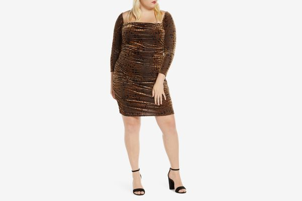 Leith Long Sleeve Ruched Velour Minidress