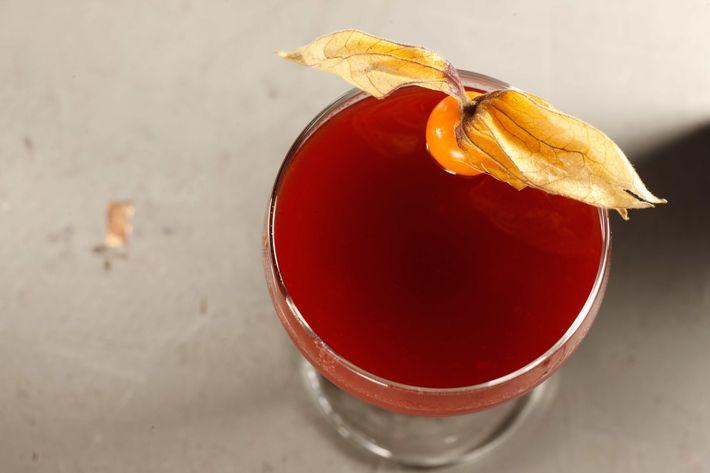 Pegu Club: Applejack cobbler —apple brandy, cranberry juice, orange juice, pomegranate juice, Punt e Mes, apple liqueur, Angostura bitters.