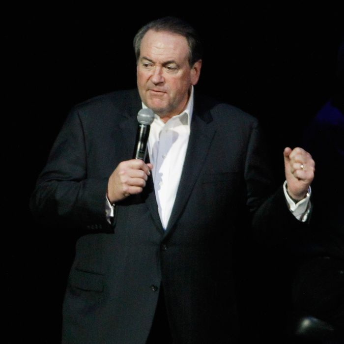 NASHVILLE, TN - NOVEMBER 22: Mike Huckabee hosts Playin' Possum! The Final No Show Tribute To George Jones - Show at Bridgestone Arena on November 22, 2013 in Nashville, Tennessee. (Photo by Terry Wyatt/Getty Images)