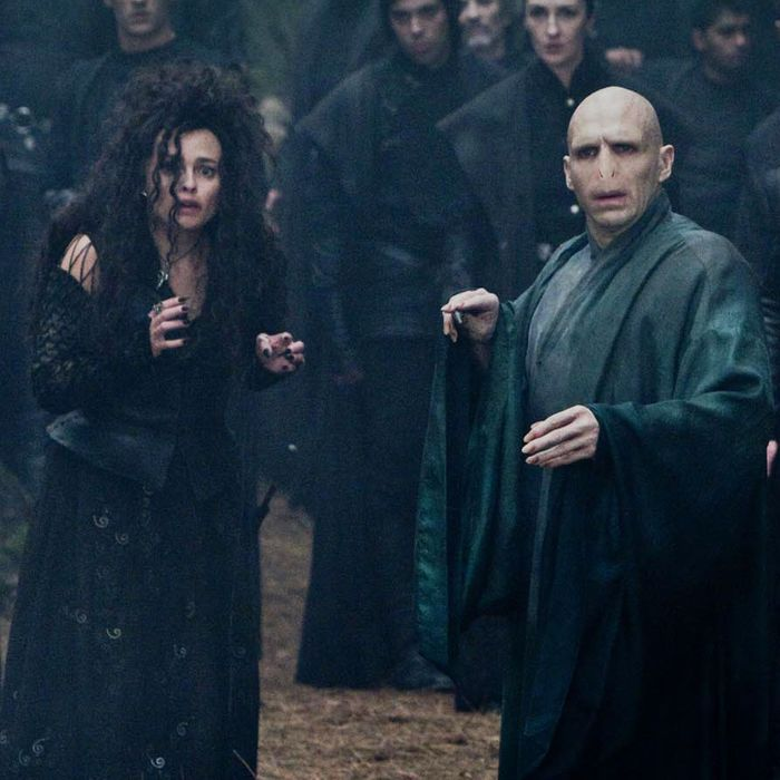 Voldemort (Ralph Fiennes) asks to check if Harry is dead. Lucius Malfoy - Jason Isaacs, Bellatrix Lestrange - Helena Bonham Carter. The Forbidden Forest. (SC334)