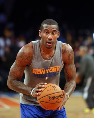 Amar'e Stoudemire #1 of the New York Knicks warms up prior to the game against the Los Angeles Lakers at Madison Square Garden on December 13, 2012 in New York City.