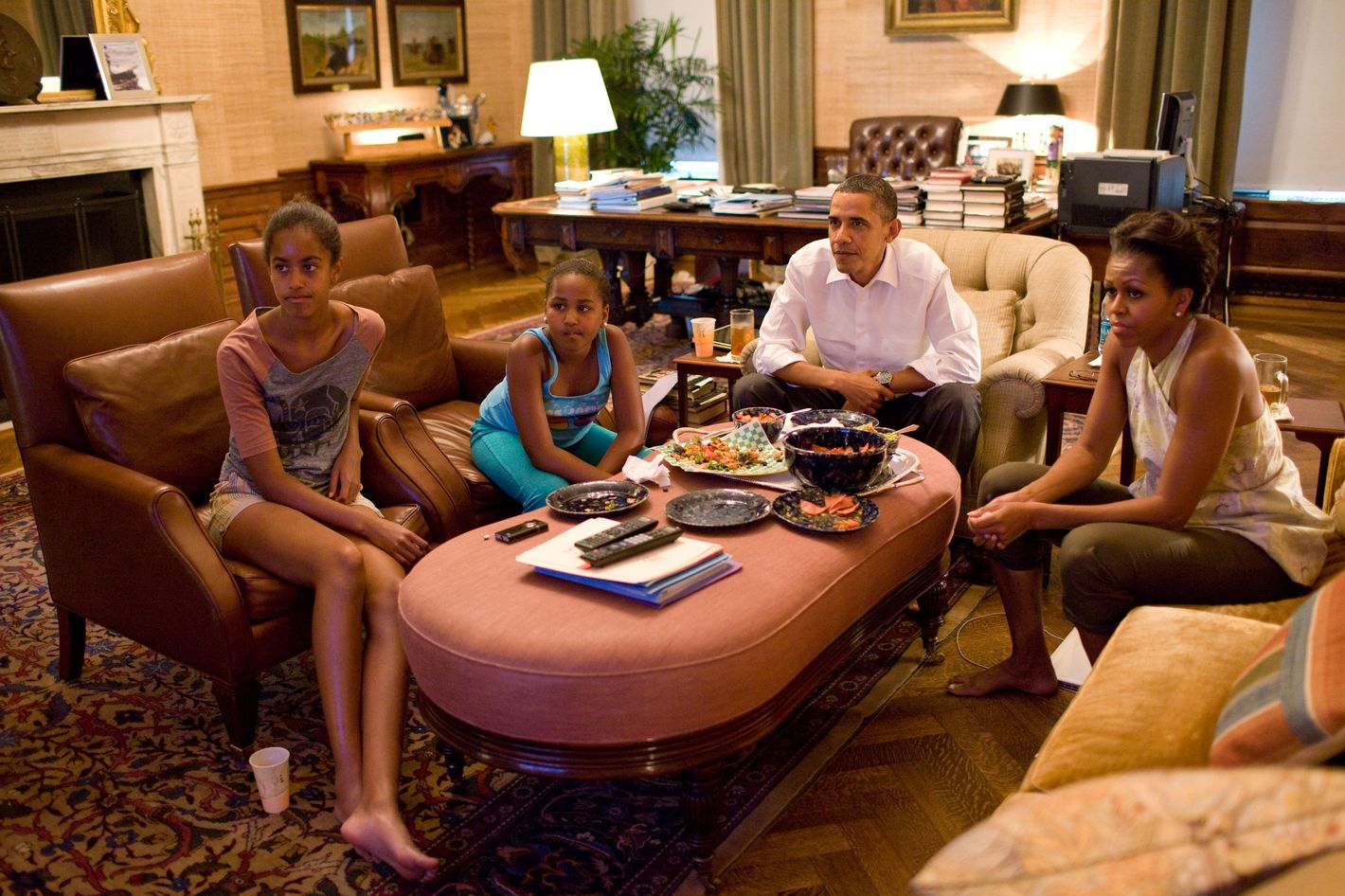WASHINGTON, DC - JULY 17:  In this handout provided by the White House, U.S. President Barack Obama and first lady Michelle Obama with their daughters Sasha and Malia watch the World Cup soccer game between the U.S. and Japan, from the Treaty Room office in the residence of the White House July 17, 2011 in Washington, DC. The U.S. lost to Japan in a shootout.  (Photo by Pete Souza/The White House via Getty Images)