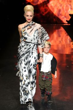 NEW YORK, NY - FEBRUARY 17:  Designer Gwen Stefani and Kingston Rossdale walk on the runway at the L.A.M.B. Fall 2011 fashion show during Mercedes-Benz Fashion Week at The Theatre at Lincoln Center on February 17, 2011 in New York City.  (Photo by Frazer Harrison/Getty Images for IMG)
