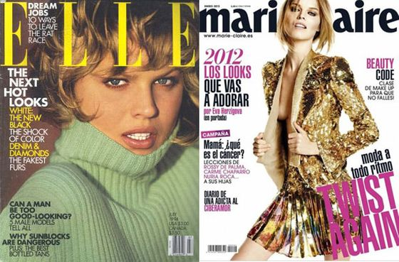 National Czech treasure Eva Herzigova appeared on the cover of <i>Elle </i>in July 1994. Most recently, David Roemer shot her for Spanish<i> Marie Claire</i>'s January 2012 issue with her blond, choppy locks intact.