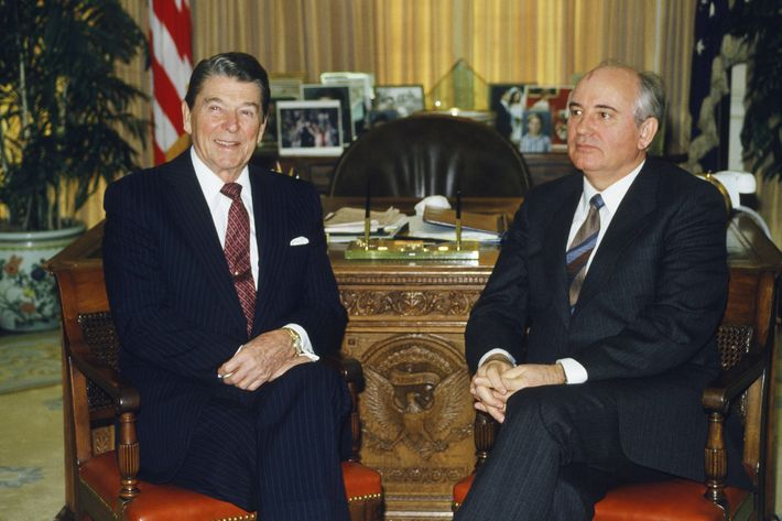"NBC News -- ""Intermediate-Range Nuclear Forces (INF) Treaty Signing"" --  Aired 12/8/1987 -- Pictured: (l-r) U.S. President Ronald Reagan, General Secretary of the Soviet Union Mikhail Gorbachev in Washington D.C. on December 8, 1987-- Photo by: Ron Sandler/NBCU Photo Bank"