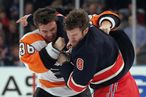 NEW YORK, NY - NOVEMBER 26: Zac Rinaldo #36 of the Philadelphia Flyers and Brandon Prust #8 of the New York Rangers fight just four seconds into the first period at Madison Square Garden on November 26, 2011 in New York City. (Photo by Bruce Bennett/Getty Images)