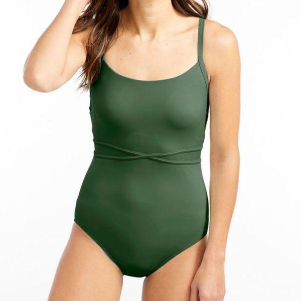 L.L. Bean Saltwater Essentials Swimwear Scoopneck Tanksuit