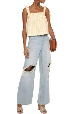 Joie Raheda Shirred Striped Linen Top