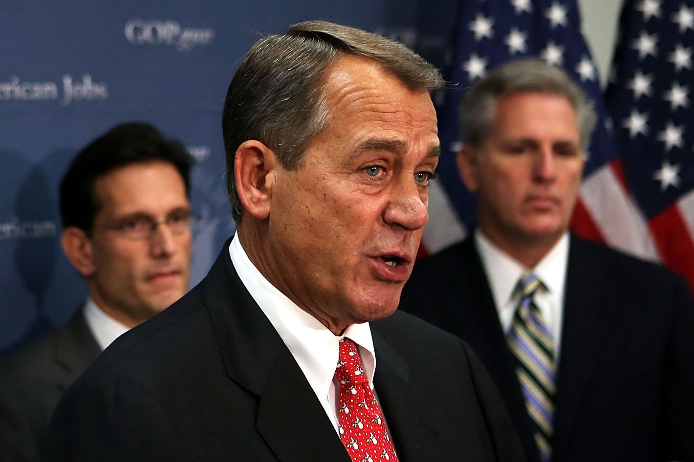 WASHINGTON, DC - DECEMBER 18:  U.S. Speaker of the House Rep. John Boehner (R-OH) (2nd L) speaks as House Majority Leader Rep. Eric Cantor (R-VA) (L) and House Majority Whip Rep. Kevin McCarthy (R-CA) (R) listens during a media availability after a House Republican Conference meeting December 18, 2012 on Capitol Hill in Washington, DC. Speaker Boehner announced that he is moving to a plan B to solve the fiscal cliff issue and he will put a bill on the floor that increases taxes for people whose incomes are more than one million dollars.  (Photo by Alex Wong/Getty Images)