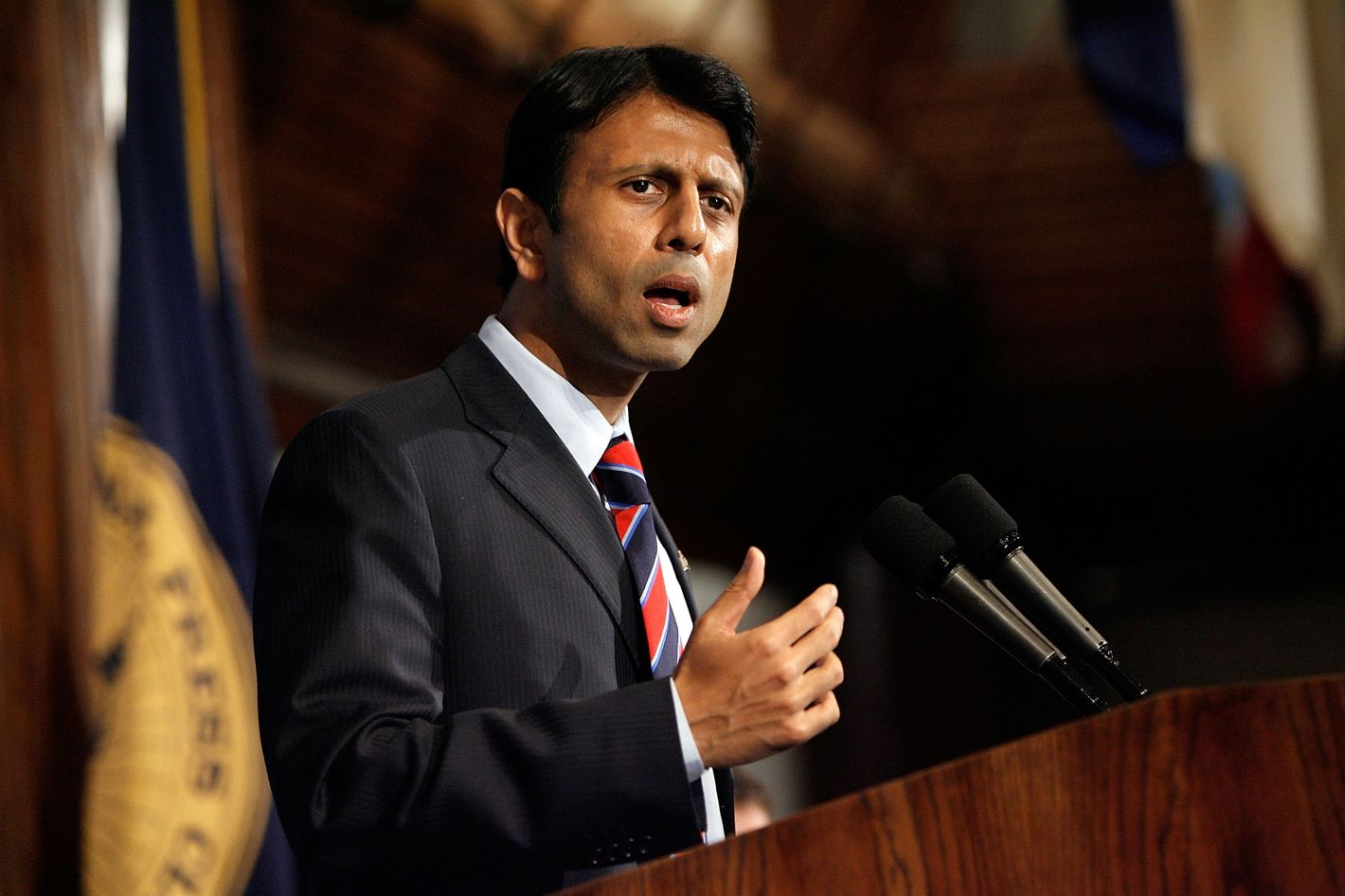 WASHINGTON - MAY 02:  Louisana Governor Bobby Jindal addresses the National Press Club May 2, 2008 in Washington, DC. Political observers have been speculating about Jindal, the first Indian-American elected governor of Louisana, being a possible vice presidential running mate for GOP candidate Sen. John McCain (R-AZ). Jindal lead McCain on a tour of about a dozen blocks of the Lower Ninth Ward during a campaign stop in New Orleans last week.  (Photo by Chip Somodevilla/Getty Images)