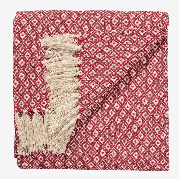 Indian Arts Fair Trade Soft Hand Woven Bedspread Settee Sofa Throw Diamond Weave Pattern 100% Cotton 130 X 180cm (Purple)