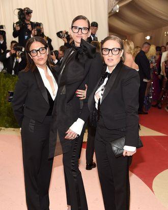 Lena Dunham with Jenni Konner and Jenna Lyons at the Met Gala.