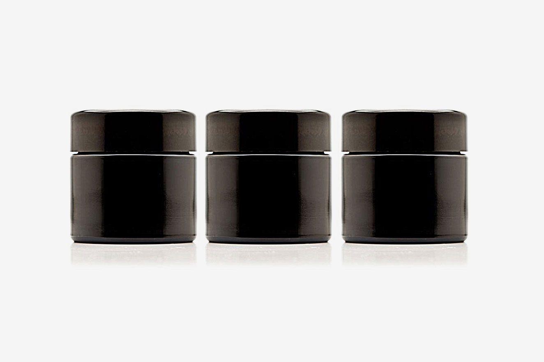 Infinity Jars 100 ml (3.3 fl oz) Black Ultraviolet Refillable Empty Glass Screw Top Jars