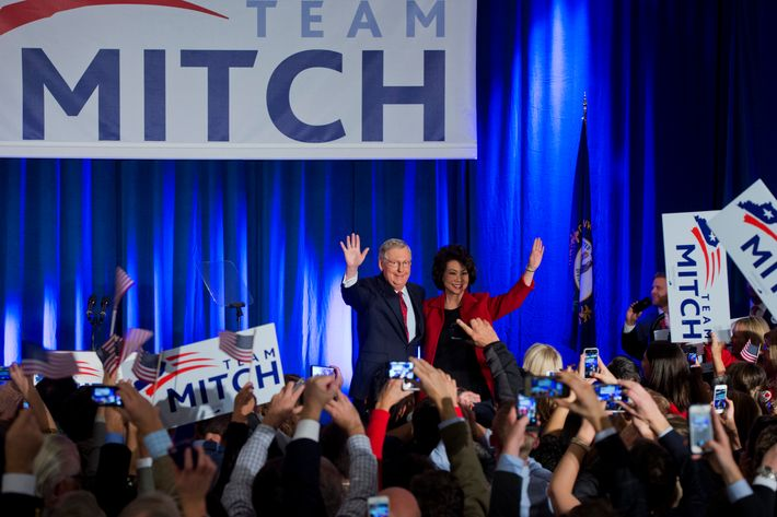 Senate Minority Leader Mitch McConnell, R-Ky., and his wife Elaine Chao, address the crowd during a party for Kentucky Republicans in Louisville, Ky., November 4, 2014. McConnell defeated Democratic challenger Alison Lundergan Grimes.