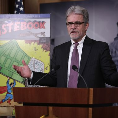 "WASHINGTON, DC - DECEMBER 17:  U.S. Sen. Tom Coburn (R-OK) speaks during a news conference December 17, 2013 on Capitol Hill in Washington, DC. Sen. Coburn held the news conference to release ""Wastebook 2013,"" his annual report of ""examples of wasteful and low-priority spending"" of the U.S. Government.  (Photo by Alex Wong/Getty Images)"