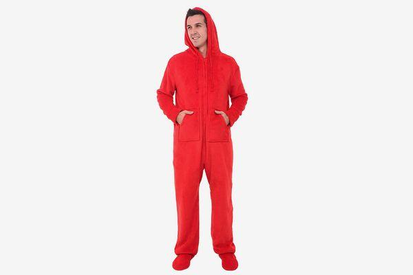 Alexander Del Rossa Men's Fleece Solid Colored Onesie